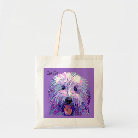 Golden Doodle Dazzling Purple Colours Tote Bag