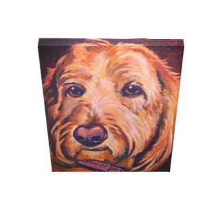 golden doodle dog on canvas