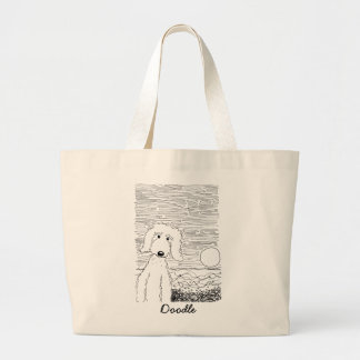 Golden Doodle on the Beach Jumbo Tote