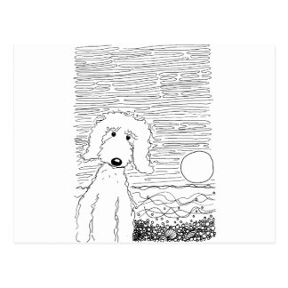 Golden Doodle on the Beach Postcard