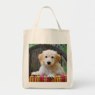Golden Doodle Puppy Grocery Tote Bag