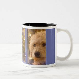 Golden Doodle puppy looking out glass door with Two-Tone Coffee Mug