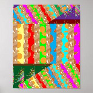 Golden Dot Colorful STRIPES: Energy Vibe ART Posters