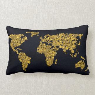 Golden Dot World Map Lumbar Cushion