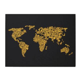 Golden Dot World Map Wood Canvas