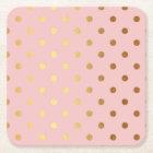 Golden dots on pink backround square paper coaster