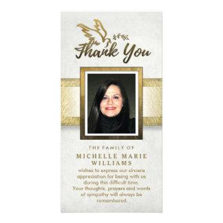 Golden Dove Custom Photo Memorial Thank You Card Custom Photo Card