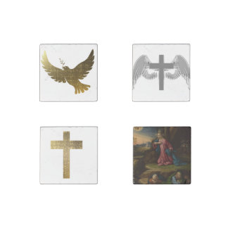 Golden Dove Faith Cross Peace Love Gold Pattern Stone Magnet