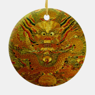 Golden dragon Chinese embroidery Ming dynasty Christmas Ornament