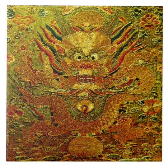 Golden dragon Chinese embroidery Ming dynasty Large Square