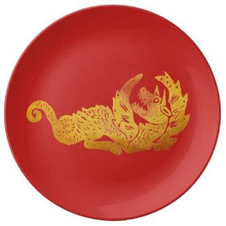 Golden dragon  Decorative Porcelain Plate