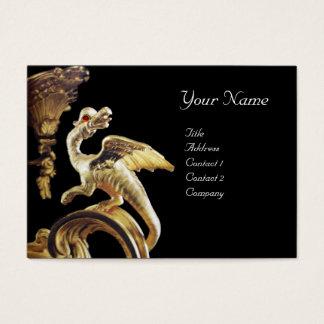 GOLDEN DRAGON IN BLACK Monogram Business Card