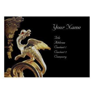 GOLDEN DRAGON IN BLACK Monogram Platinum Silver Business Card Templates