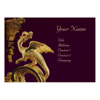 GOLDEN DRAGON IN PURPLE  Monogram Gold Metallic Pack Of Chubby Business Cards