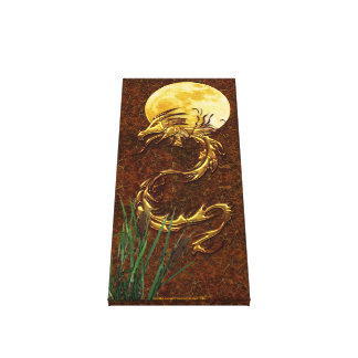 Golden Dragon, Moon & Bull-rushes Art Canvas Gallery Wrapped Canvas