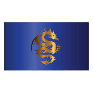 Golden Dragon on Royal Blue Pack Of Standard Business Cards
