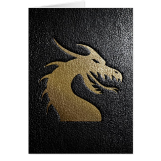 Golden dragon silhouette on black leather card