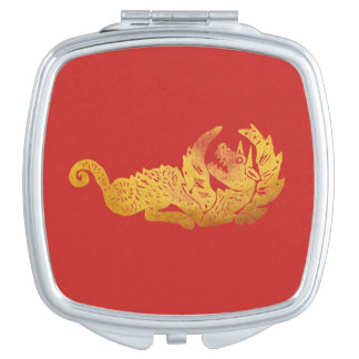 Golden Dragon Square Compact Mirror