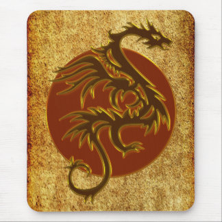 Golden Dragon Sun antique style Mouse Pad