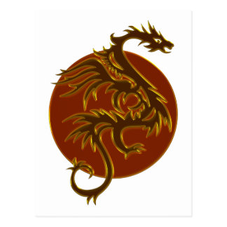 Golden Dragon Sun | make your own background Postcard