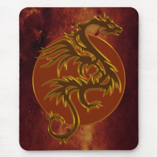 Golden Dragon Sun | universe of fire Mouse Pad