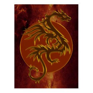 Golden Dragon Sun | universe of fire Post Cards