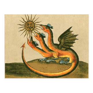 Golden Dragon with Moon and Sun Sepia Postcard