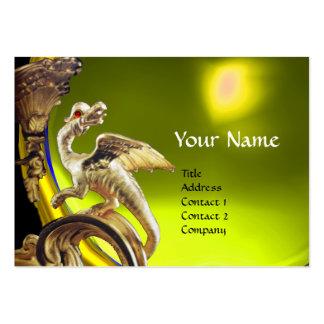 GOLDEN DRAGON YELLOW TOPAZ  Monogram Business Card Template