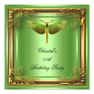 Golden Dragonfly Elite Elegant Birthday Party 13 Cm X 13 Cm Square Invitation Card