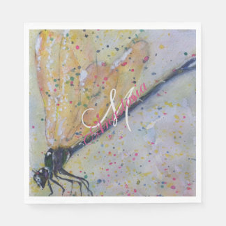 GOLDEN DRAGONFLY WINGS MONOGRAM PARTY DISPOSABLE NAPKIN