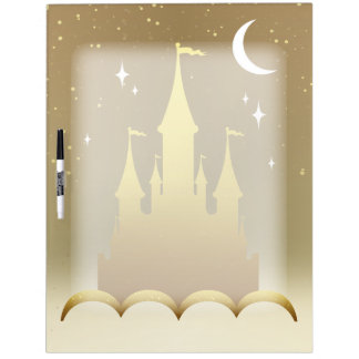 Golden Dreamy Castle In The Clouds Starry Moon Sky Dry Erase Whiteboards
