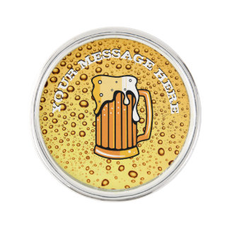 Golden drops and beer glass lapel pin