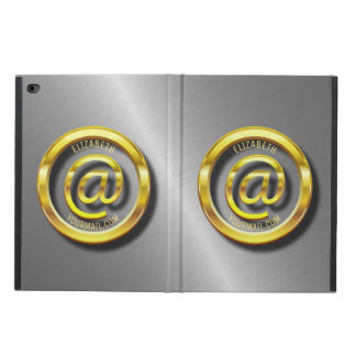 Golden E-Mail Symbol 3D With Shadows