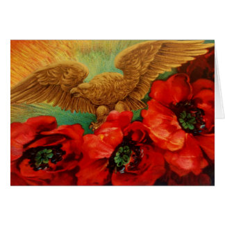 Golden Eagle and Poppies Vintage Greeting Cards