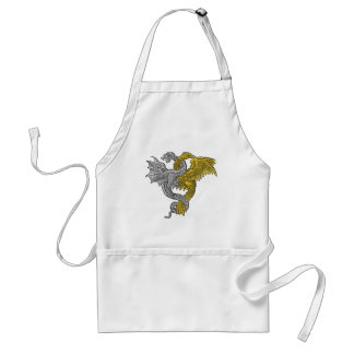 Golden eagle and silver dragon entwined adult apron