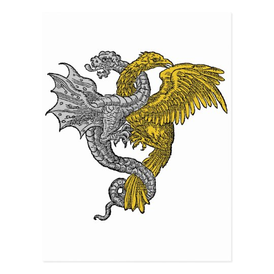 Golden eagle and silver dragon entwined postcard