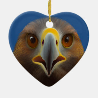Golden Eagle Ceramic Heart Decoration