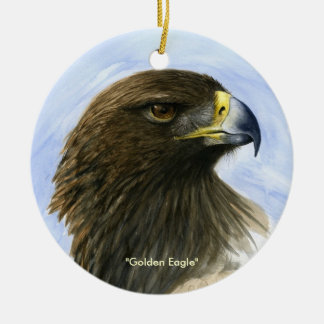 """""""Golden Eagle"""" Ornament-watercolor painting Round Ceramic Decoration"""