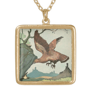 Golden Eagle Story Book Alphabet Square Pendant Necklace