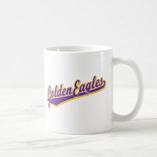 Golden Eagles script logo in gold and purple Coffee Mug