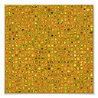 Golden Earth Tones Textured Mosaic Tiles Pattern Photo Art
