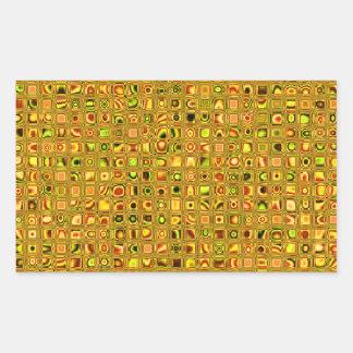 Golden Earth Tones Textured Mosaic Tiles Pattern Rectangular Sticker