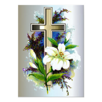 Golden Easter Cross and White Lilly Flowers 13 Cm X 18 Cm Invitation Card