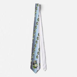 Golden Easter Cross - White Lilly Flowers - Blue Tie