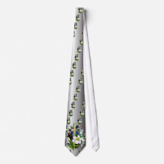 Golden Easter Cross - White Lilly Flowers - Silver Tie