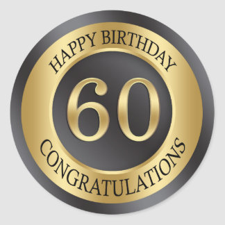 Golden effect 60th Birthday Classic Round Sticker