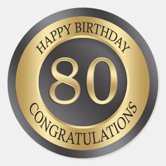 Golden effect 80th Birthday Classic Round Sticker