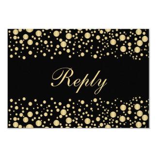 Golden effect confetti on black RSVP Invitation