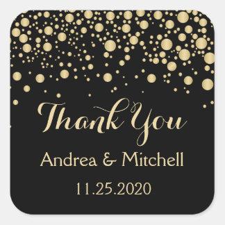 Golden effect confetti Thank You Sticker