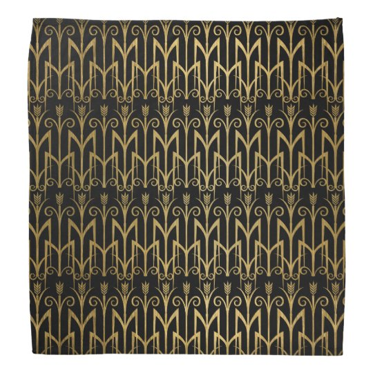 Golden Egyptian Wheat Colour Barley Art Deco Bandana